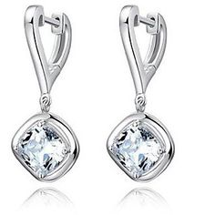 Sterling Silver Zirconia Earrings - Drop Set Design. Only at www.pandadeals.co.uk