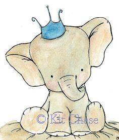 Adorable elephant nursery art