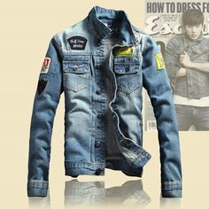 "Universe of goods - Buy Solid Casual Slim jackets Men's Denim Jacket Letter Bomber Jacket High Quality Cowboy Male Jean Jacket Coat"" for only USD. Dark Blue Denim Jacket, Denim Jacket Men, Men's Denim, Men's Jacket, Denim Style, Denim Coat, Rugged Style, Vintage Denim, Shoes With Jeans"