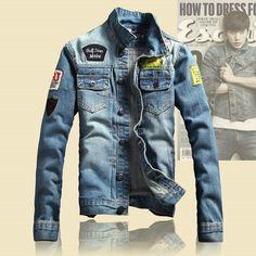 2016 Spring Mens Jackets Brand New Slim Fit Vintage Denim Patch Designs Jeans Jacket Men Coats Plus Size Jaqueta Masculina MJK13