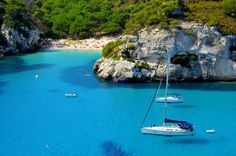 Photo about View of Macarelleta beach in Menorca, Balearic Islands, Spain. Image of scenery, mediterranean, menorca - 19049690 Blue Hole, British Airways, Croatia Travel, Spain Travel, Mykonos, Menorca Villas, Formentera Spain, Spanish Islands, Wild Campen
