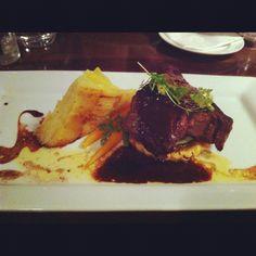 4.6.12 Work dinner celebration ~  part 2 main course, rib eye steak with veges + 2 orange/malibu drinks & a malibu shot