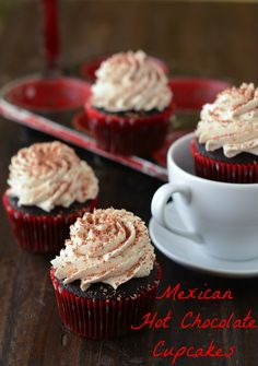 Mexican Hot Chocolate Cupcakes via www.thenovicechefblog.com