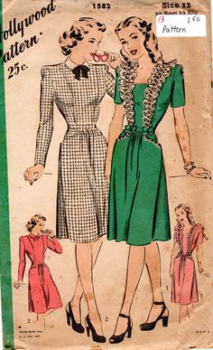 1945 Hollywood Ladies Dress in Two Styles, Bust-30