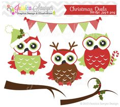 INSTANT DOWNLOAD, christmas owl clipart, christmas clipart, for commercial use, scrapbooking, invitation, annoucements on Etsy, $3.50