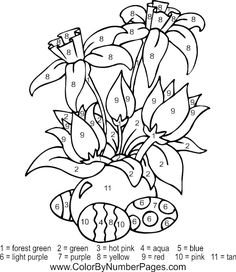 Easter Flowers Color By Numbers from Printable Color by Number category. Find out more cool coloring pages for your child Easter Coloring Pages, Cute Coloring Pages, Flower Coloring Pages, Christmas Coloring Pages, Free Printable Coloring Pages, Free Coloring, Adult Coloring Pages, Coloring Pages For Kids, Coloring Books