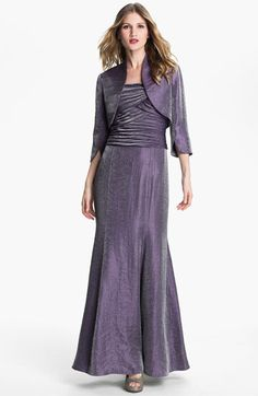 Adrianna Papell Pleated Bodice Shimmer Gown & Bolero in amethyst for the MOB? Feedback?