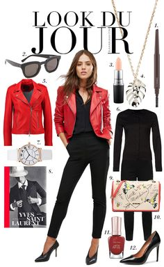 Look Du Jour: Red-y? Black shirt+black ankle pants+black stilettos+red moto leather jacket+white and red printed chain shoulder bag+silver necklace. Spring Business Casual Outfit 2017 Look Du Jour: Red-y? Black Jacket Outfit, Leather Jacket Outfits, Hot Outfits, Fall Outfits, Red And Black Outfits, Red Black, Black Ankle Pants, Business Casual Outfits, Outfit Combinations