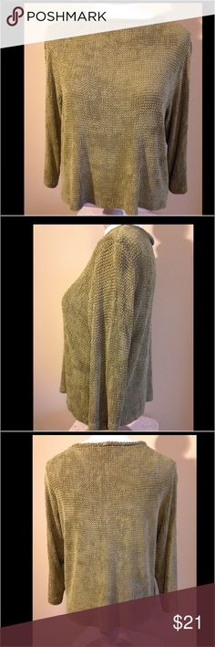 "🏆EUC Sarah Arizona Slinky Soft Open weave Top This extra soft top by Sarah Arizona has been very gently worn. Perfect condition! The softest most comfortable slinky feeling top you will ever put on. 3/4 Sleeve. Olive green. 95% acetate, 5% nylon. Laying flat measurements: armpit to armpit 19 1/2"", armpit to sleeve hem 11 1/2"", across hem 2""1. I purchased this at Nordstrom for $99 ON SALE. please take time to notice the fine inside stitching on the hem (Photo 5), and the open weave pattern…"