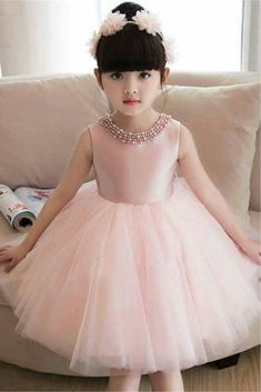 Tidebuy tidebuy plain jewel neck bowknot knee length girls party dress adorewe com Baby Girl Frocks, Baby Girl Party Dresses, Cheap Flower Girl Dresses, Frocks For Girls, Dresses Kids Girl, Cute Dresses, Girl Outfits, Long Frocks For Kids, Little Girl Gowns