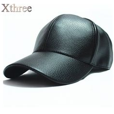 xthree winter PU Leather Baseball Cap Biker Trucker snapback Hats For Men women hats and caps wholesale