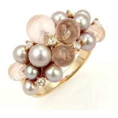 Pre-owned Mimi 18k Rose Gold Diamond Rose Quartz and Pearls Cluster... ($795) ❤ liked on Polyvore featuring jewelry, rings, diamond cluster ring, pre owned engagement rings, rose gold ring, 18 karat gold ring and rose gold diamond ring