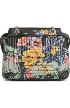 Main Image - Fendi Small DOTCOM Click Flower Quilted Leather Shoulder Bag