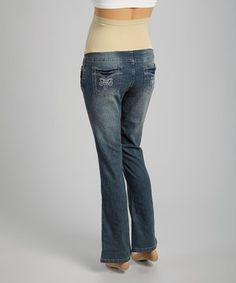 Mom & Co. Medium Wash Fleur-de-Lis Over-Belly Maternity Jeans by Mom & Co. #zulily #zulilyfinds