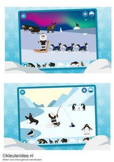 Polar adventure, leuke leerzame app voor jongste en oudste kleuters, voor beschrijving zie kleuteridee.nl , de kinderen leren veel over de dieren en mensen op de Noordpool en Zuidpool