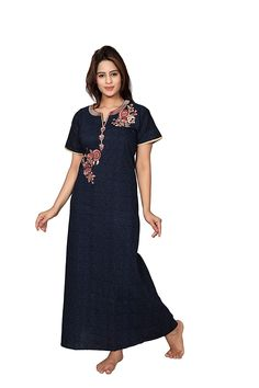 Women's Cotton Nighty Night Gown Womens Nighties, Nightgowns For Women, Long Gown Dress, Maxi Gowns, Stylish Dress Designs, Stylish Dresses, Beach Gowns, Nighty Night, Anarkali Dress