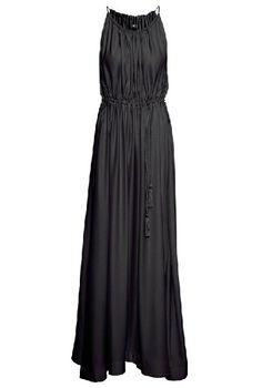 Vestido plisado largo correa de espagueti-negro EUR€20.17