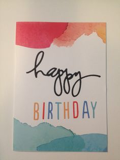 Water colour background and die cut happy birthday card