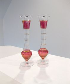 Vintage Red Flash Glass & Gold Pair of Vases Retro Glass Stemmed with Fluted Rims I Dream Of Jeannie, Vintage Vases, Red Glass, Hurricane Glass, 1940s, Shabby Chic, Retro, Gold, Fun
