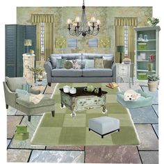 """""""Green And Blue Living Room"""" by rachel-is-epic on Polyvore"""
