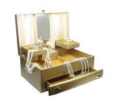 Farrington Jewelry Case Vintage Midcentury Beige Leatherette Box
