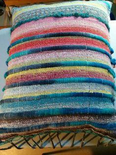 Saori weaving, pillow by Tara www.saorisaltspring.com