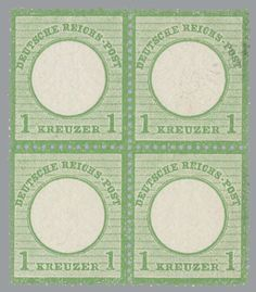 German Empire 1872; larger shield 1 Kreuzer dark green block of four, mint never hinged; certificate with photograph summer: . . . The stamps are outstand...