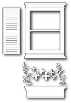 Large Madison Window Set 6.4 x 8.6 centimeters window, 2.8 x 7.1 centimeters shutter, 6.4 x 1.8 centimeters flower box, 1.5 x 3.3 centimeters stems, .8 to 1.3 centimeters flowers