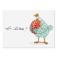 Postkarte Ei Like - krima & isa Shop Chicken Painting, Chicken Art, China Painting, Stone Painting, Watercolor Cards, Watercolor Illustration, Chicken Humor, Patch Aplique, Sketch Notes