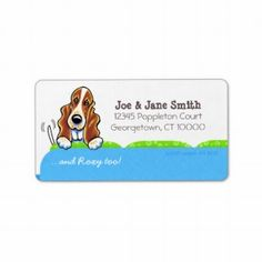Basset Hound Blue Couch Pet Name Personalized Custom Address Labels