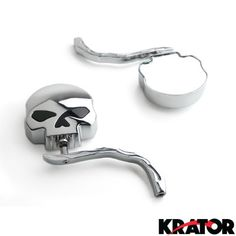 Krator® Custom Rear View Mirrors Chrome Pair w/Adapters For Harley Davidson Dyna Glide Low Rider, Silver