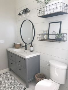 badezimmer A room challenge REVEAL: guest bathroom R&R at home 29 guest bathroom ideas . Bad Inspiration, Bathroom Inspiration, Floating Vanity, Floating Shelves, Wire Shelves, Open Shelves, Upstairs Bathrooms, Downstairs Bathroom, Small Basement Bathroom