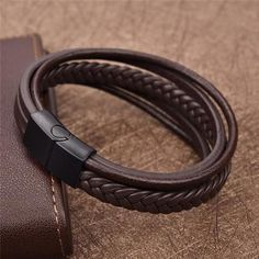 Jiayiqi New Punk Braid Leather Bracelet for Men Black Stainless Steel Clasp Wristband Male Jewelry Vintage Fashion Best Gifts Braided Bracelets, Bracelets For Men, Fashion Bracelets, Bangle Bracelets, Leather Bracelets, Bracelet Men, Braided Leather, Men's Leather, Bracelet Sizes