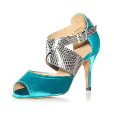 Amazing Metal Snake & Satin Ankle Cross Strap Latin Dance Sandals For Ladies(More Colors)
