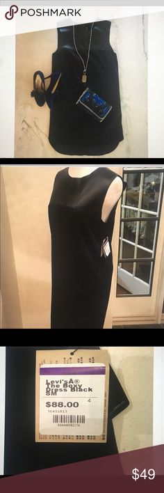 """👍Discount Shipping Levi's The Boxy"""" Black Dress Up for sale is a zip Leather Sleeveless Cotton Round Neck  Light Weight Dress. A sweet cotton dress with an edgy touch, relaxed silhouette, flaunts leather detail at the front and back yoke, exposed back zipper, Drop tail hem line & Leather Clean Only   Imported Levi's Dresses High Low"""