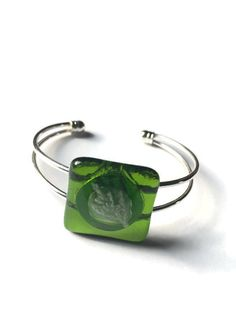 Moss Green Fused Glass Fossil Glass Cuff Bracelet Open Back by thejeremiahtreeglass. Explore more products on http://thejeremiahtreeglass.etsy.com