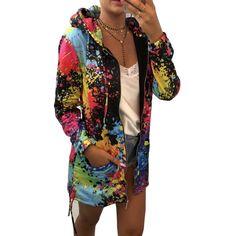 Online Shop Feitong Womens Zip-up Sweatshirts Causal Tie dyeing Print Drawstring Coat Outerwear Sweatshirt Hooded Jacket sudadera mujer 2019 Coats For Women, Jackets For Women, Clothes For Women, Sweat Shirt, Origin Clothing, Women's Clothing, Mantel Trenchcoat, Hooded Bomber Jacket, Fleece Sweater