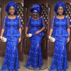 Latest Blue Aso Ebi Styles For Wedding Guests