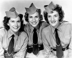 THE ANDREWS SISTERS ~ (L-R) Maxene, Patty,, and LaVerne. They were the most popular girl group in America, at the time. Patty, the youngest, was energetic, loud and blond, and she headed the group with her confident vocals. The middle sister, Maxene, was a brunette, whose harmonic range gave the impression of 4 singers. LaVerne was the eldest, and completed the trio. She was a strong-willed redhead, with a witty sense of humor.
