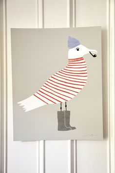 Sammy Seagull Silkscreen Print from Wayne Pate. How could you not smile at this? Art And Illustration, Eclectic Artwork, Silkscreen, Poster Design, Design Art, Graphic Design, Silk Screen Printing, Bird Art, Creations