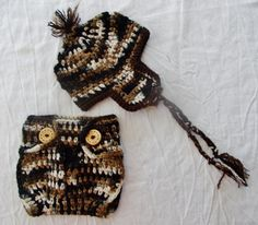 Babies Crochet Hat and Diaper Cover Camofladge by RedBudCrafts