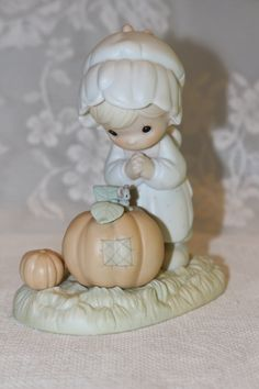 Precious Moments Enesco October 1988 Porcelain Figurine of the Month Sam Butcher…