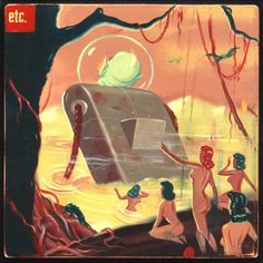 dearj-:  In Ryan Heshka's world, man, robot-alien, and dinosaur coexist peacefully. (etc., via Laughing Squid)