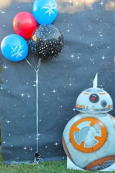Photo booth at a Star Wars birthday party! See more party planning ideas at CatchMyParty.com!
