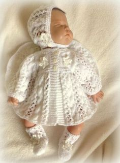 hand-knitted-Cable-And-Lace-Matinee-Set-0-3-Months-18-20-Reborn