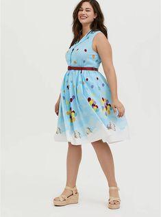 Plus Size - Her Universe Disney Pixar Retro Up Blue Belted Swing Dress - Torrid Poplin Dress, Poplin Fabric, Swing Dress, Torrid, Plus Size Dresses, Dapper, Skirt Set, Summer Dresses, Disney Pixar