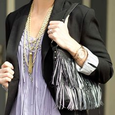 cs gems tassel necklace and multi-chain necklace with fringe forever 21 top and fringe roxy handbag