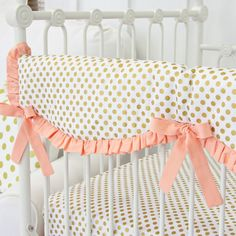 This crib rail cover is perfect for your Coral and Gold Dot Ruffle bumperless baby crib bedding. The scalloped edges are gorgeous for any nursery bedding set! Caden Lane, Jack and Jill Boutique