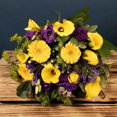 Bloom Magic - Flower Delivery Ireland - A luxury hand-tied bouquet featuring yellow germini, purple lilac and calla lillies. This bouquet of flowers makes the perfect gift for a birthday, thank-you or new baby. Congratulations Flowers, Send Flowers Online, Hand Tied Bouquet, Luxury Flowers, Calla Lillies, Same Day Flower Delivery, Purple Lilac, Floral Arrangements, New Baby Products