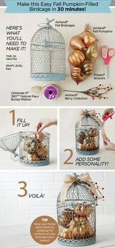 Create an easy Fall Pumpkin Filled Birdcage for home decor